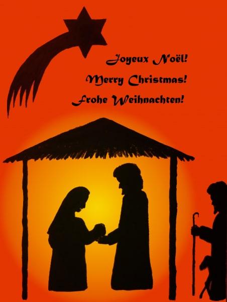 Weihnachtliche Silhouette 3-sprachig