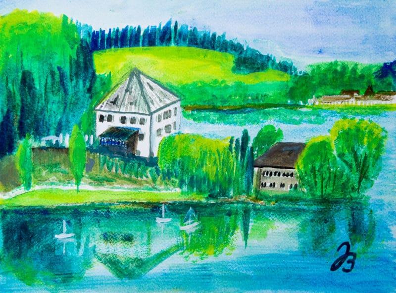 Schloss Mattsee – Gouache Malerei