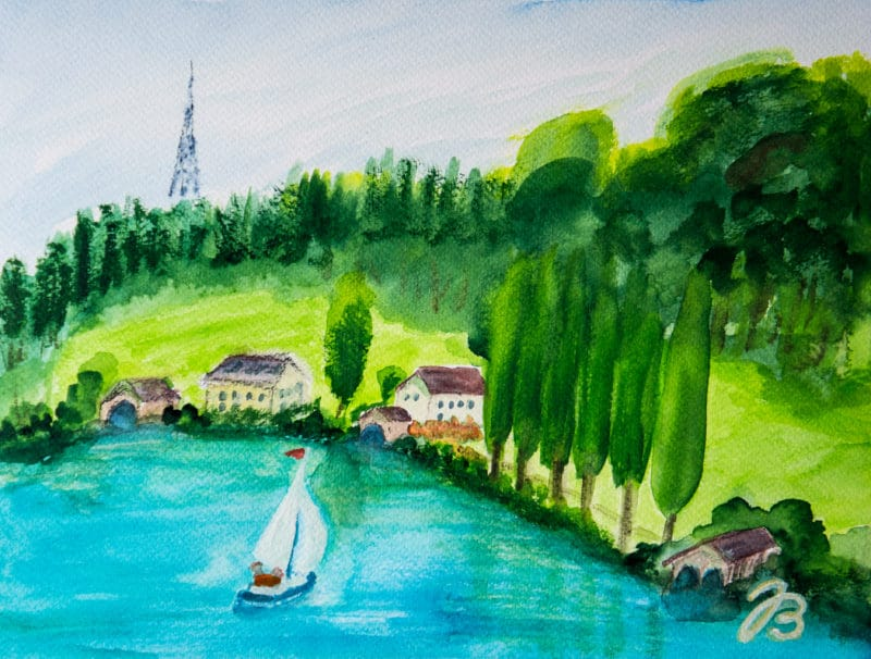 Mattsee Lake View – Aquarell Painting