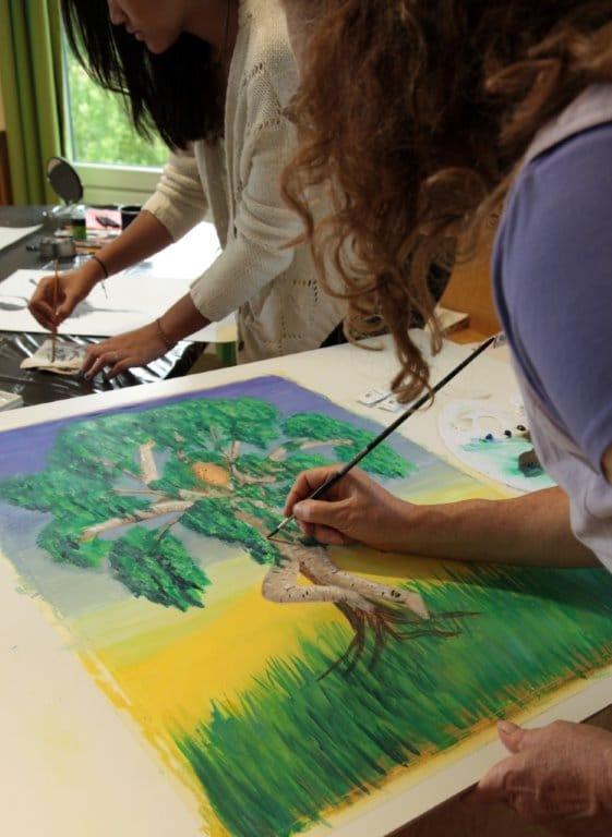 Bei der Artcross Konferenz 2014 im Malerei Workshop mit Eva Flatscher * Artcross conference 2014