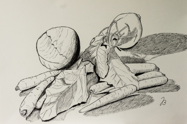 Vegetable Still Life – Fineliner Drawing