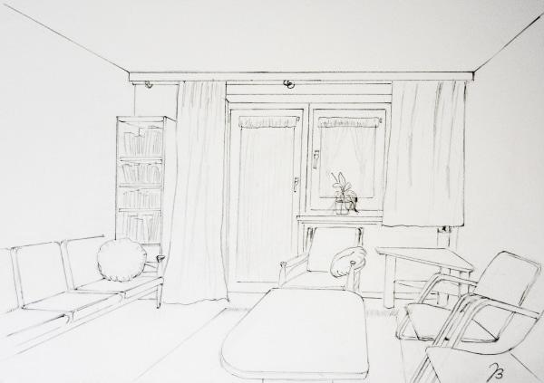 Ein Zimmer mit Aussicht – Bleistift Zeichnung