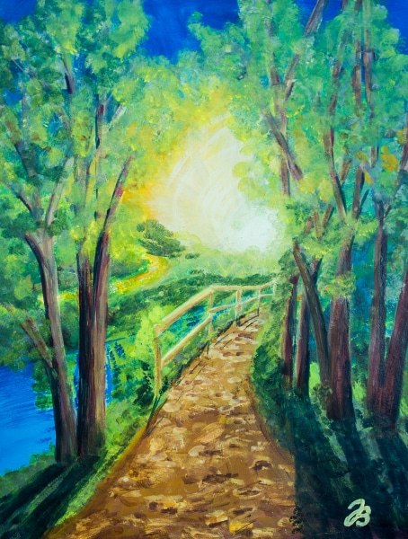Sunlit Path – Gouache Painting