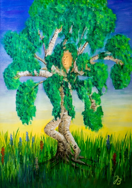 Tanzende Birke Selbstportrait – Gouache Malerei