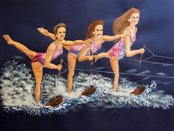 Wasserschi fahrende Schwestern – Gouache Malerei