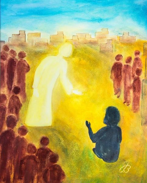 Jesus bleibt stehen – Wachssalben Malerei